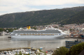 m/s m s ms costa magica visiting bergen norway. travel fjord norway kongeriket norge europe european norwegan