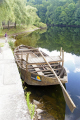 restored gabare traditional flat-bottomed flat bottomed flatbottomed boat used river dordogne. taken argentat southern limousin boats marine misc. correze dordogne barge promenade quay quais france la francia frankreich europe european french