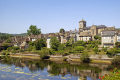 pleasant market town argentat southern limousin. dordogne river north bank. french landscapes european travel correze promenade quay quais bridge limousin france la francia frankreich europe