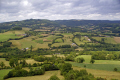 view limousin countryside taken hilltop chateau turenne france. french landscapes european travel correze pastoral ancient mediaeval medaeval touristic picturesque castle fortified france la francia frankreich europe