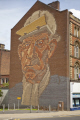 gable end mural depicting steelworkwer decline industry city centre sheffield south yorkshire murals arts misc. steel art wall england english angleterre inghilterra inglaterra great britain united kingdom british uk grande-bretagne grande bretagne grandebretagne großbritannien gran bretagna bretaña