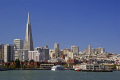 san francisco skyline tiburon ferry. california american yankee travel bay area waterfront embarcadero city offices tower block pier californian usa united states america