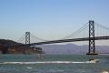 bay bridge running san francisco oakland taken tiburon ferry. california american yankee travel area waterfront embarcadero city suspension californian usa united states america