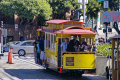 san francisco powell market cable car leaving fisherman warf. california american yankee travel bay area warf waterfront marina embarcadero hyde street californian usa united states america