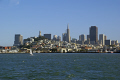 san francisco skyline late afternoon sun taken tiburon ferry california american yankee travel city bay area fisherman warf embarcadero waterfront californian usa united states america