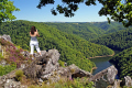 photographer looking dordogne valley belvedere gratte bruyere near nuevic france french landscapes european travel forest limousin correze river glacial trees verdant wild sarandon sumene la francia frankreich europe