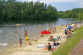 beach etang ruffaud near correze limousin france french landscapes european travel camping camp-site camp site campsite lac lake resort fresh water artificial plage bathing swimming la francia frankreich europe
