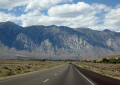 sierra nevada mountains highway 395 northbound. california american yankee travel bishop foothills prairie sagebrush californian usa united states america