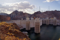hoover dam lake meade. bridge contruction highway 93 bypass seen background. american yankee travel las vegas reservoir electricity generating generation hydro-electric hydro electric hydroelectric nevada usa united states america