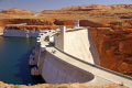 glen canyon dam near page arizona. arizona american yankee travel lake powell hydro-electric hydro electric hydroelectric generating electricity renewable colorado river highway 89 usa united states america