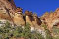 sandstone spires hoodoos zion national park. rock formations geology geological science misc. navajo cliffs exposure np scenic byway highway jurassic utah usa united states america american