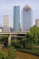 downtown houston i45 freeway buffalo bayou taken sabine street. american yankee travel tx city commercial offices business tower high-rise high rise highrise texas usa united states america