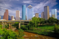 downtown houston i45 freeway buffalo bayou taken sabine street american yankee tx city commercial offices business tower high rise texas united states