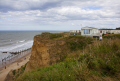 section cliff collapsed cromer norfolk uk coastline coastal environmental danger erosion land slide caravans england english angleterre inghilterra inglaterra united kingdom british