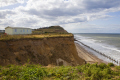 section cliff collapsed near cromer norfolk uk coastline coastal environmental collapse beach seaside caravans england english angleterre inghilterra inglaterra great britain united kingdom british grande-bretagne grande bretagne grandebretagne großbritannien gran bretagna bretaña