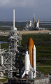 space shuttle atlantis sits launch pad endeavour b. science misc. ksc centre srb florida nasa cape kennedy canaveral usa united states america american