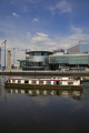 canal boat ship passing lowry salford quays manchester lancashire boats marine misc. reflections water art gallery lancs england english angleterre inghilterra inglaterra great britain united kingdom british uk grande-bretagne grande bretagne grandebretagne großbritannien gran bretagna bretaña