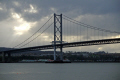 maintenance forth road bridge scotland uk bridges rivers waterways countryside rural environmental oppressive gloomy cloudy rain shower firth grey rail estuary river fife scottish scotch scots escocia schottland united kingdom british