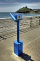 telescope seafront criccieth north wales uk coastline coastal environmental seaside prom castle welsh gwynedd país gales united kingdom british