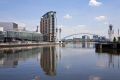 manchester ship canal salford quays lancashire environmental water regeneration bridge reflections england english angleterre inghilterra inglaterra united kingdom british