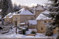 traditional houses village correze france french buildings european limousin snow snowy winter wintery christmas card picture post la francia frankreich