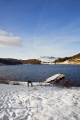 ladybower reservoir derbyshire countryside rural environmental snow winter scene dam water peak district england english angleterre inghilterra inglaterra united kingdom british