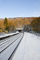 grindleford station derbyshire uk railway stations railways railroads transport transportation winter snow platform train peak district england english angleterre inghilterra inglaterra united kingdom british