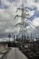 electricity pylons security fencing heysham nuclear power station energy electrical science green road industrial britain chimneys lancashire lancs england english angleterre inghilterra inglaterra united kingdom british