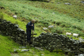 woman crossing wooden stile fell walking lake district human activities fellwalking women hiking lakes cumbria cumbrian england english angleterre inghilterra inglaterra united kingdom british
