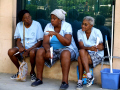 cleaners lunch break havana cuba women woman female females feminine womanlike womanly womanish effeminate ladylike dinner time chatting natter conversation ladies caribbean cuban