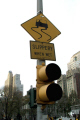 slippery wet sign new york city signs abstracts traffic lights bon jovi album warning caution attention injury nyc manhattan usa big apple united states american