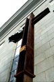 ground zero steel crucifix twin towers terror attack new york american yankee manhattan belief christianity cross god holy mourning spritual terrorism george bush iraq osama bin laden big apple united states