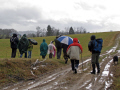 group walkers monedieres region southern limousin caught sudden shower. friends friendship buddies pals groups forest monédières winter valley hikers hiking ramblers rambling walking promenade randonnee correze france la francia frankreich french