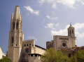girona spain. collegiate church sant feliu left cathedral right catalunya catalonia spanish espana european catedral església saint felix spire steeple espagne españa costa brava spain spanien la spagna