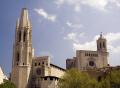 girona spain. collegiate church sant feliu left cathedral right catalunya catalonia spanish espana european catedral església saint felix spire steeple espagne españa costa brava spain spanien la spagna