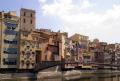 girona spain apartments businesses lining river onyar. catalunya catalonia spanish espana european església espagne españa bridge reflection costa brava spanien la spagna