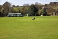 groundsman mowing cricket pitch bradfield south yorkshire sports sporting green grass ground field cutting england english angleterre inghilterra inglaterra united kingdom british