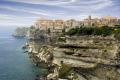 clifftop town bonifacio corsica french landscapes european corse du sud limestone precipice mediterranean granite island france la francia frankreich
