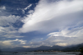 golfe saint-florent saint florent saintflorent corsica dramatic clouds town st florent mountains cap corse sky natural history nature weather meteorology formation cumulus rain shower storm precipitation updraft thermals haute-corse haute corse hautecorse france la francia frankreich french