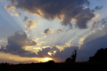 sunset dramatic rays. taken correze limousin july 2010 rays presumably eyjafjallajokull volcanic eruption iceland sunsets sky natural history nature meteorology weather sunbeam twilight evening ash cloud volcano france la francia frankreich french