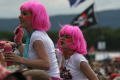 girls pink wigs watching band stage music musicians musical arts rock pop festival crowd females perth kinross perthshire scotland scottish scotch scots escocia schottland united kingdom british