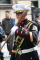 loyal orange lodge parade. male leading band uniform. carrying mace white gloved hand. march procession gathering glasgow central scotland scottish scotch scots escocia schottland united kingdom british