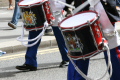 loyal orange lodge parade. close drums drumsticks. gathering procession glasgow central scotland scottish scotch scots escocia schottland united kingdom british