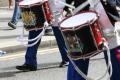 loyal orange lodge parade. close drums drumsticks. gathering procession glasgow central scotland scottish scotch scots escocia schottland united kingdom british