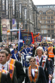 loyal orange lodge parade. general view marchers file. gatherings procession glasgow central scotland scottish scotch scots escocia schottland united kingdom british