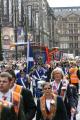 loyal orange lodge parade. general view marchers file. gatherings procession glasgow central scotland scottish scotch scots escocia schottland united kingdom british