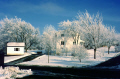 snowy suburbia minneapolis usa december. american yankee seasons cold freezing wintery scene hoar-frost hoar frost hoarfrost christmas card minnesota united states