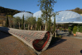 eden project unusual garden seating tourist attractions england english botanical attraction architectural geodesic dome cornish cornwall angleterre inghilterra inglaterra united kingdom british