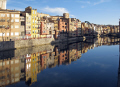 girona spain apartments businesses lining river onyar. french buildings european catalonia esgl sia espagne espa reflections sunset twilight spanien la spagna
