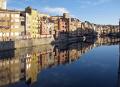 girona spain apartments businesses lining river onyar. french buildings european catalonia esgl sia espagne espa reflections sunset twilight spanien la spagna
